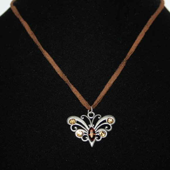 Brown leather silver butterfly necklace 17""